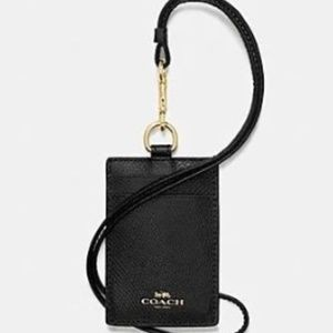 Coach ID Lanyard Black with gold lettering
